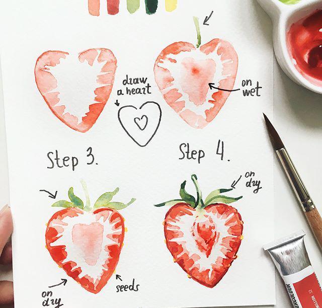草莓水彩画步骤