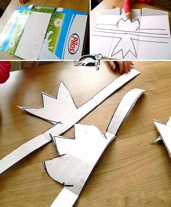 制作步骤:在纸板上画一个皇冠形状,剪下轮廓