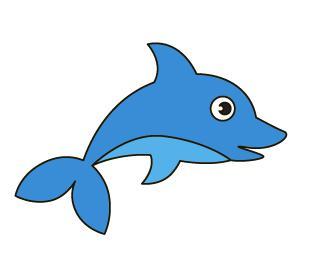 儿童简笔画教程:蓝色卡通小鲸鱼,3岁的孩子也能画出动态感