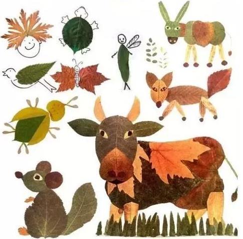 还有这些动物图案的,小朋友一定很喜欢,如果不能直接由树叶拼凑成