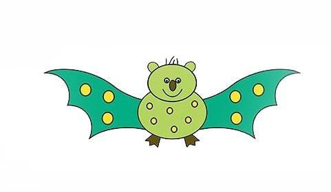 宝宝简笔画,儿童绘画,胖胖的蝙蝠