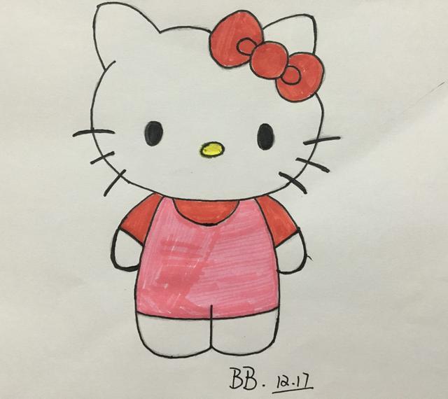 简笔画:hellokitty,简单的凯蒂猫画法,绘画早教亲子都