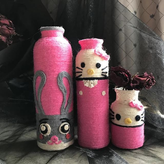 幼兒園手工diy麻繩創意花瓶!美工區,操作區,觀賞擺放!