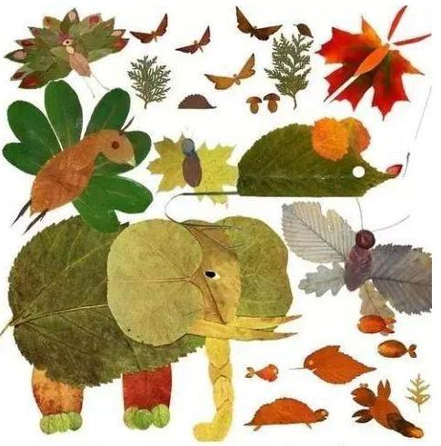 孩子超爱玩的22个树叶拼贴画,幼儿园,一二年级图片