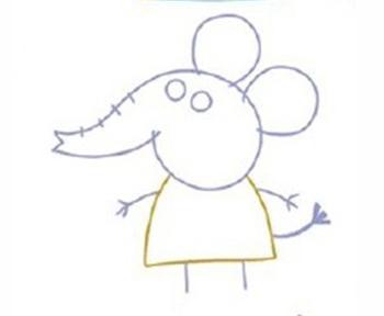 男宝宝女宝宝简笔画,儿童画画,卡通人物小猪佩奇之大象艾米丽