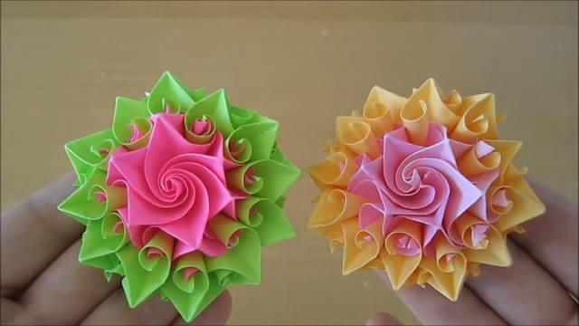 漂亮的多边纸花,做法简单,上手容易,手工折纸教程