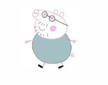 宝宝简笔画,儿童卡通绘画,小猪佩奇猪爸爸