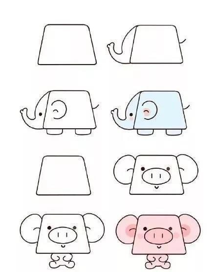 巧妙利用梯形画小动物,可爱又简单,还能教孩子认识几何图形哦