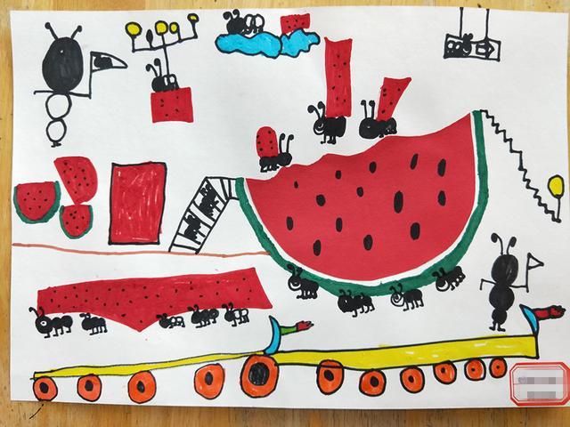 「儿童创意画」蚂蚁搬西瓜 - 巧手diy - 妈妈帮图片