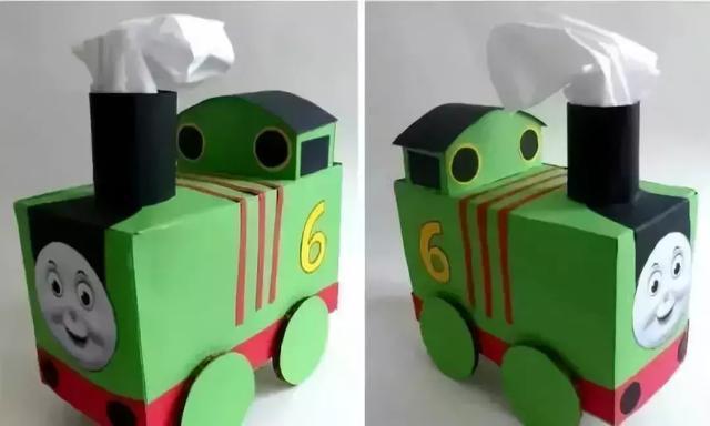 幼儿园亲子手工之废物利用:纸巾盒制作托马斯小火车,超形象!