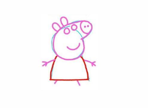 宝宝简笔画,幼儿园美术画,开心的粉红猪小妹