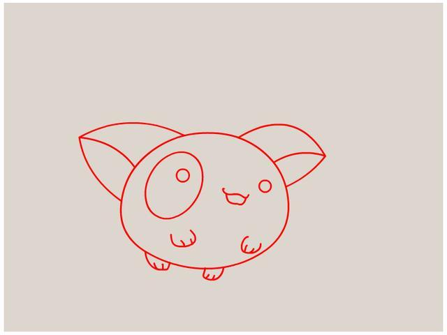 第三步:画上一个圆圆可爱的4个脚     大家是不是觉得很简单,很
