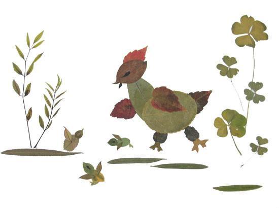 树叶粘贴的小动物