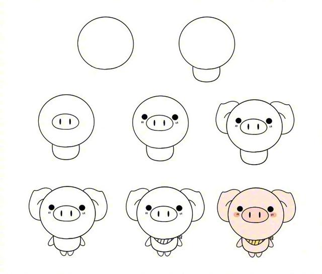 用圆形画出可爱的小动物,马住教小朋友吧