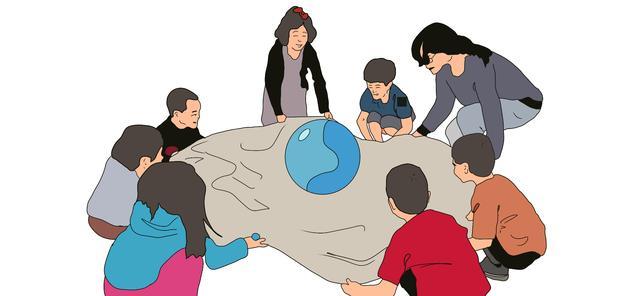幼儿集体游戏卡通拉手