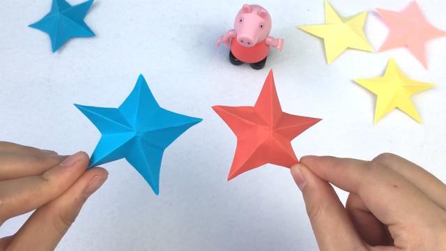 简单儿童手工折纸:国庆节做个折纸五角星,装饰国旗,献给老兵吧