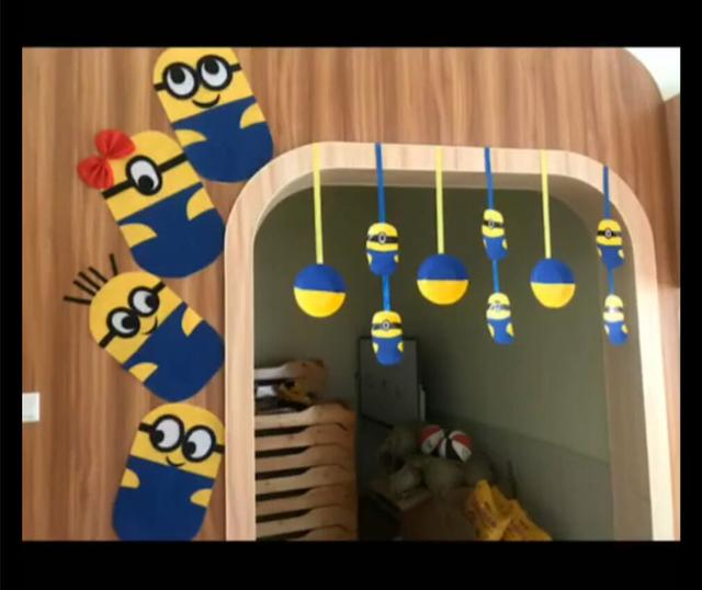 小黄人主题环境创设卡通创意幼儿园环创班级布置图
