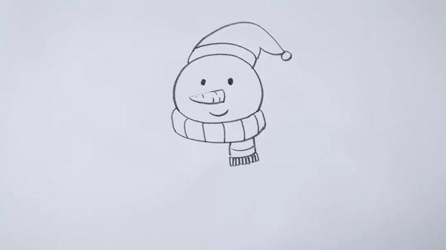 简笔画,雪人,儿童彩签绘画,简单易学,雪人与冬天更配哦