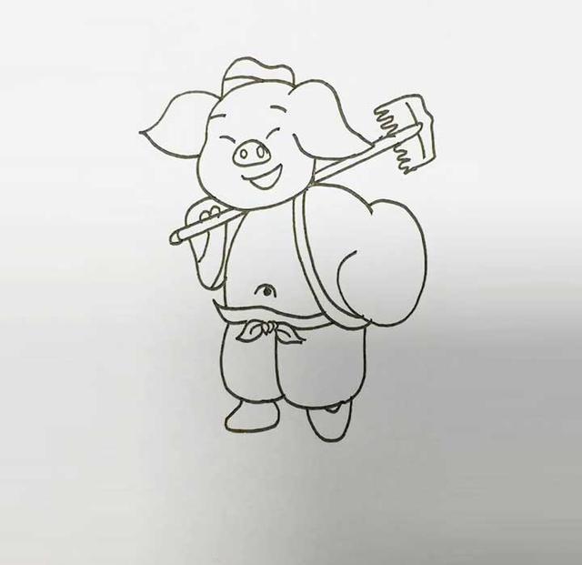 亲子九步画:猪八戒简笔画法教程
