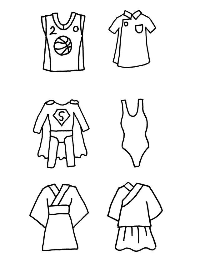 *猜你喜欢*                            这组卡通衣服简笔画,特别