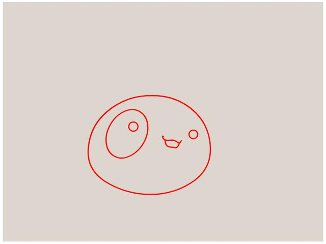 第二步:画上萌宠的眼睛嘴巴,就可以了,开心的笑容哦.
