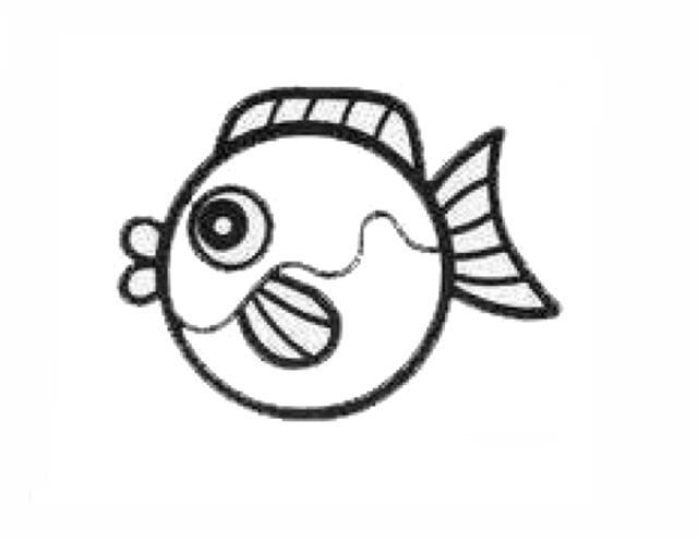 宝宝简笔画,幼儿绘画,自由自在的深海鱼