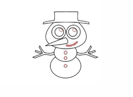 宝宝简笔画,儿童画画,胖乎乎的雪人