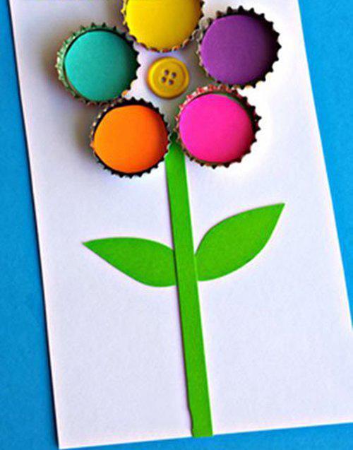 幼儿园环保小制作用瓶盖做母亲节花朵贺卡
