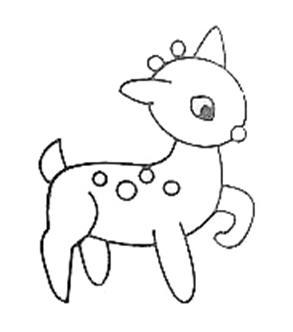 男女宝宝简笔画,幼儿园美术绘画,悠然自得的小鹿