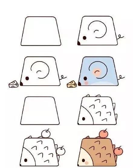 巧妙利用圆形画小动物,可爱又简单,还能教孩子认识几何图形哦
