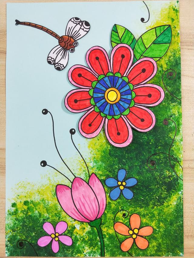 第六步:用红色和黑色黏土做出七星瓢虫,粘贴在纸上,黑色勾线笔画